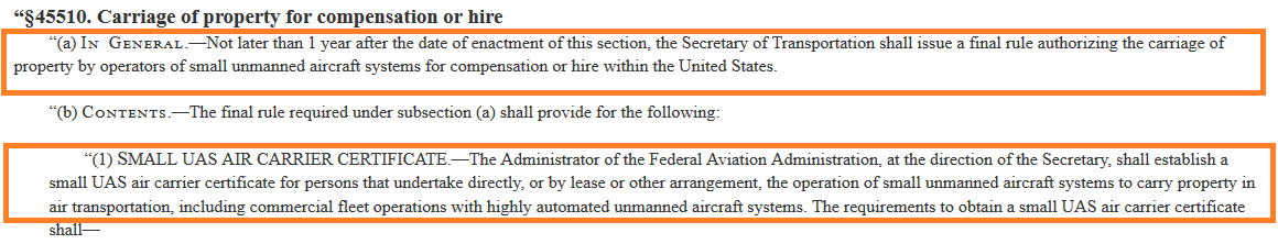 Air Carrier Certificate Requirement proposed in the 2018 FAA Reauthorization Bill