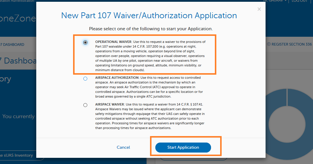Creating Part 107 Waiver Application in FAA DroneZone