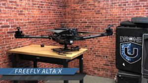 free fly alta x without a gimbal on a table at Drone U Flight School