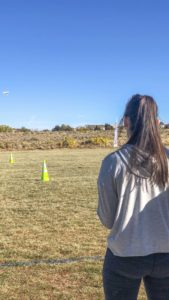 Alyssa takes flight at the Drone U Obstacle Course